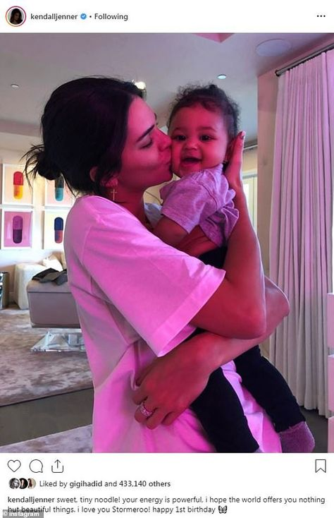 Loving: Stormi's aunt Kendall Jenner also posted a birthday tribute on Friday morning