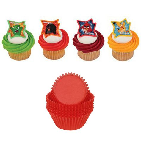 24 Angry Birds Cupcake Rings 4 Different Styles 24 Red Cupcake Cups Standard Size