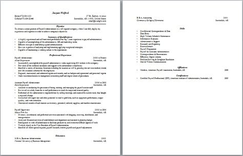 Payroll Administration Resume Administrative Resume Samples - entry level esthetician resume