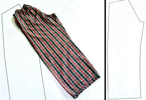 Instructions for using a pair of pj pants to make a pattern for new pjs.