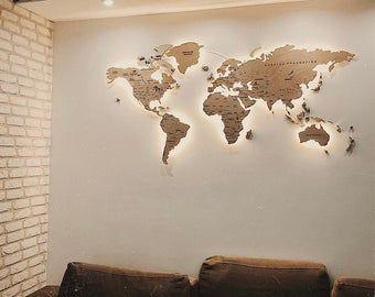 Light Wood Wall Map Of The World Map Wall Art Large Travel Led Etsy World Map Wall Art World Map Decor Wood World Map