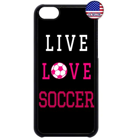 Cute Soccer Girl Pink Futbol Quote Black//White Back Case Cover Apple iPod 4 5 6