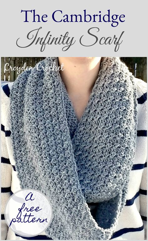 Easy Crochet A free crochet scarf pattern by Croyden Crochet. - Crochet this free infinity scarf pattern using Lion Brand Wool-Ease yarn. This is a great beginner pattern and works up quickly! Crochet Infinity Scarf Free Pattern, Infinity Scarf Patterns, Crochet Simple, Crochet Gratis, Crochet Beanie, Crochet Cowls, Crotchet, Crochet Gloves, Crochet Baby