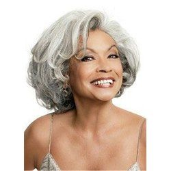 Salt and Pepper Hair Bob Style Wavy Synthetic Lace Front Cap Wig: M.Wigsbuy.com