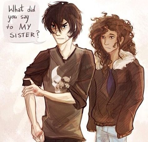 Nico Di Angelo and Hazel Levesque. Nico is only 14 years old, but he can control the dead. I wouldn't mess with him or his sister Hazel. Percy Jackson Fan Art, Percy Jackson Memes, Percy Jackson Books, Percy Jackson Fandom, Hades Percy Jackson, Solangelo, Percabeth, Magnus Chase, Hazel Levesque