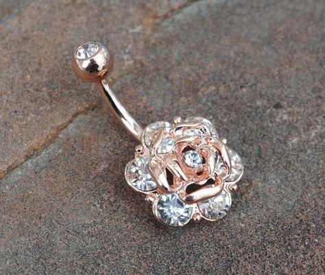 Rose or cristal Rose nombril nombril anneau par HumbleHippy sur Etsy