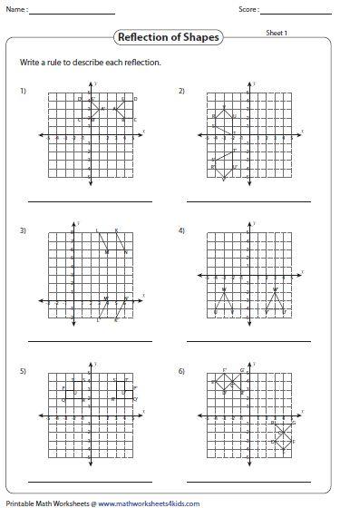 Geometry Reflection Worksheet Translations Math Math Worksheets Sight Word Worksheets