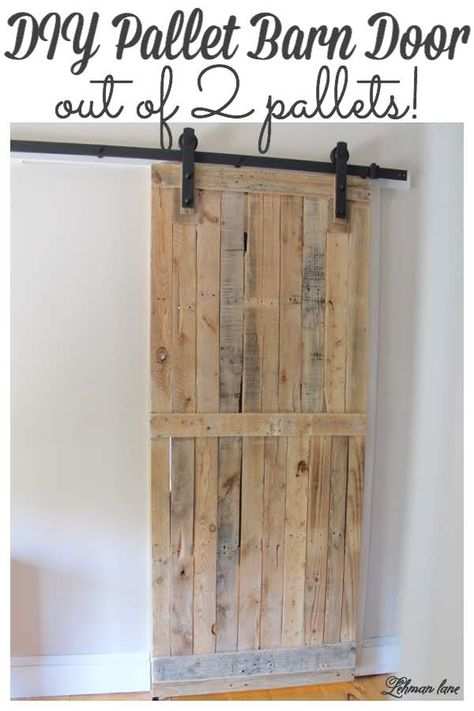 DIY: Pallet Sliding Barn Door - Lehman Lane - - A pallet sliding barn door adds a lot of character, saves space, looks amazing, and is cheap and easy to make. Learn how to build it and build yours today! Pallet Door, Pallet Barn, Diy Pallet Wall, Wooden Pallet Projects, Diy Barn Door, Wooden Pallets, Outdoor Pallet, 1001 Pallets, Garden Pallet