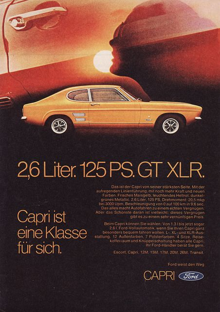 1970 Ford Capri Mk1 Gt Xlr Ad Germany Ford Capri Ford Capri