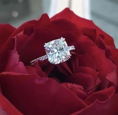 3Ct Cushion Cut Moissanite Diamond Solitaire Engagement Ring 14K White Gold Over