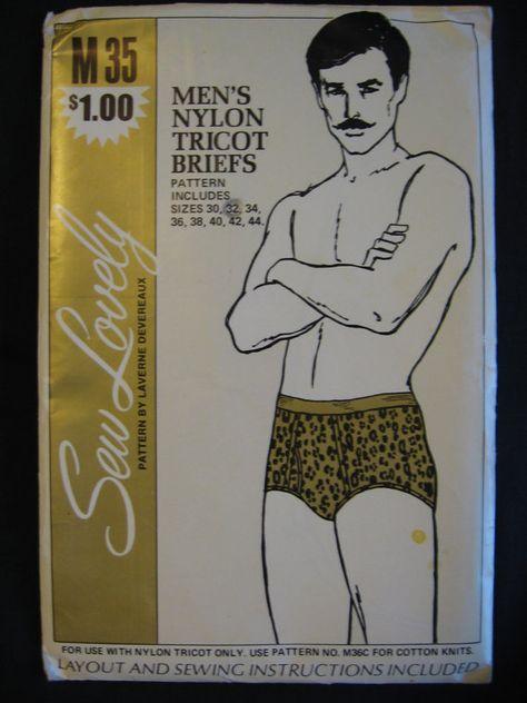 Vintage 1970s Sew Lovely M35 Mens Nylon Tricot Briefs S M L ...