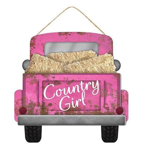 """Country Girl Truck Sign Decoupaged pink truck wall hanging with hay in the back and """"Country Girl"""" message on tailgate. Size: 12"""" x 11.5"""" Material: MDF and Paper Country Girl Truck, Country Trucks, Farm Trucks, Country Girls, Pickup Trucks, Country Music, One Stroke Painting, Body Painting, Fall Crafts"""