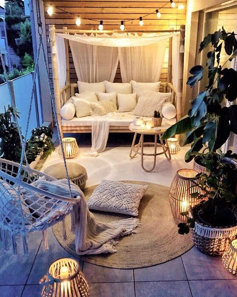Small Balcony Ideas to Help You Make The Most of Your Outdoor Space Small Balcony Design, Small Balcony Decor, Outdoor Balcony, Small Patio, Small Outdoor Spaces, Outdoor Decor, Outdoor Furniture, Small Spaces, Outdoor Bedroom