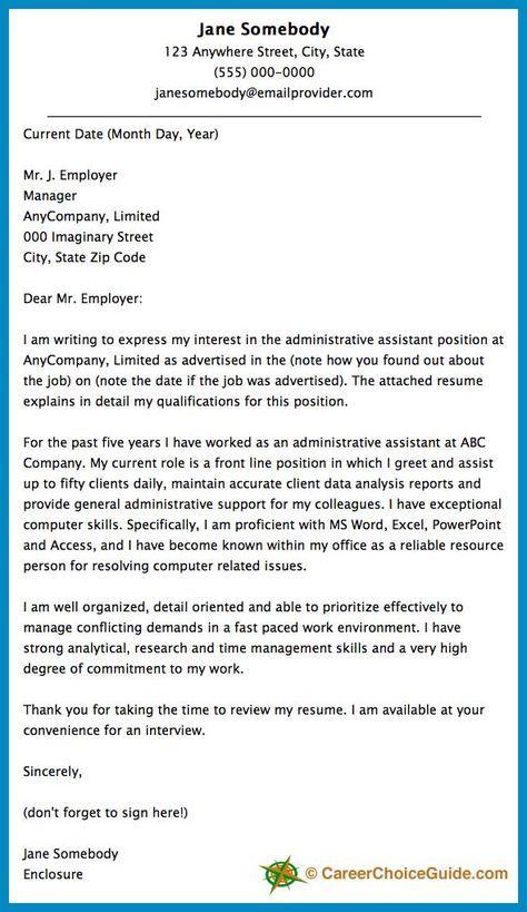 Cover Letter Sample   Business   Job cover letter, Cover letter for