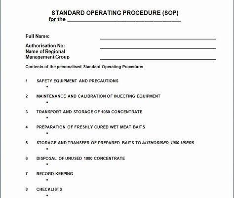 Standard Operation Procedure Format Inspirational 37 B Standard Operating Procedure Template Standard Operating Procedure Standard Operating Procedure Examples