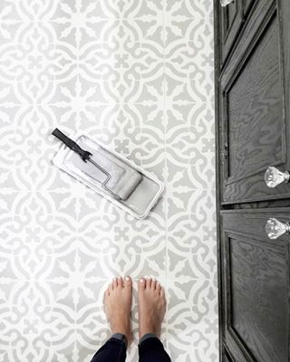 Stencil Designs And Pretty Pattern For A Colorful Room Makeover That S Cheaper Than Wallpaper Wall Stenci Stenciled Tile Floor Kitchen Floor Tile Tile Stencil