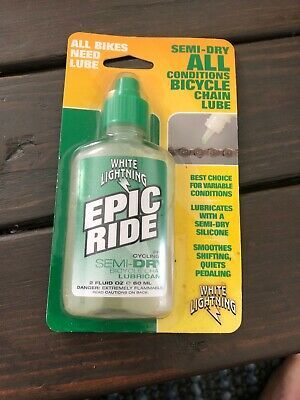 White Lightning Epic Ride Semi Dry Chain Lubricant Bottle 2 Ounce