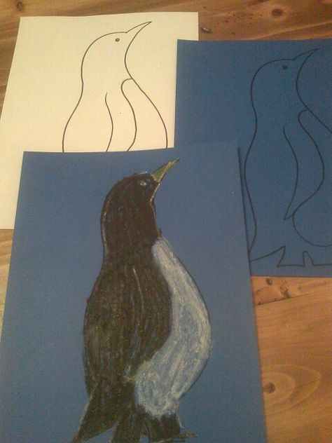 Penguin waterproof feathers resist with crayon lesson. Discuss how a penguin doesn't get wet because of the oil on it's feathers.  Color all or a part of the penguin and mist with water bottle.  See how the water beads up