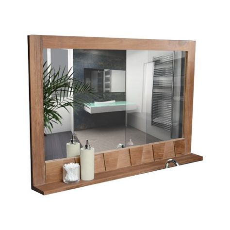 Tikamoon Icone Mirror Bathroom Mirror With Shelf Mirror With Shelf Teak Bathroom
