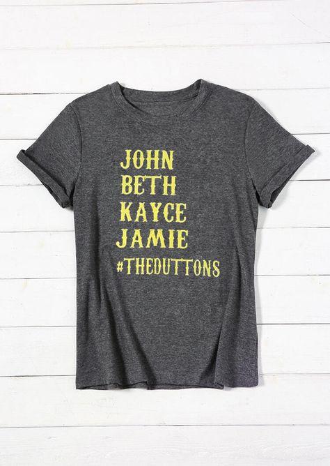 Tees T-shirts Yellowstone John Beth Kayce Jamie T-Shirt Tee - Dark Grey. Size: SMLXL #accessories #gift #rustic #vintage #diy #beauty #pride #valentineday #art #shoes #wedding #party #clothing #menwear #womenwear #dress #bikini #bikinisets #tops #tshirts #jumpsuits #sandals #slippers #earrings #health #casual