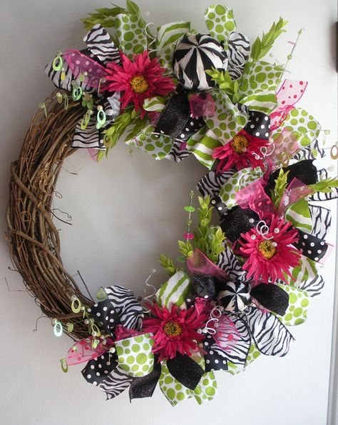 Daisy wreath with green, pink , animal print and polka dot ribbon  AllisonStrider on Etsy