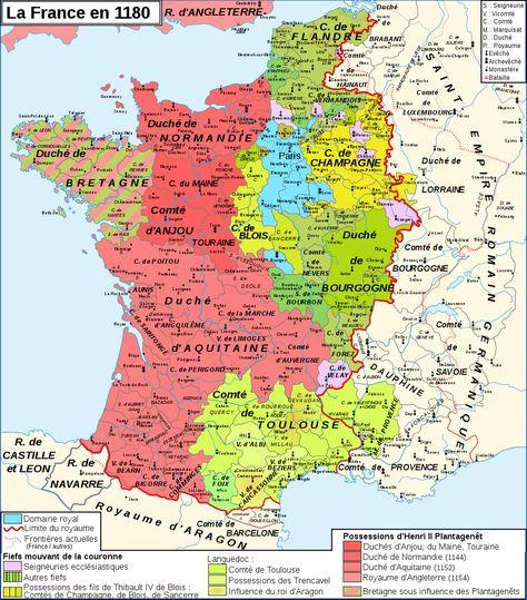 Carte De France En 1180 Durant Le Regne De Philippe Ii Carte De