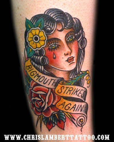American Traditional Tattoo Portrait Google Search Traditional Tattoo Portrait Tattoos Retro Tattoos