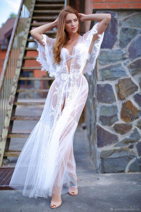 b255cc0a718 Underwear   Pajamas handmade. Livemaster - handmade. Buy Long Tulle Bridal  Robe with Lace F20