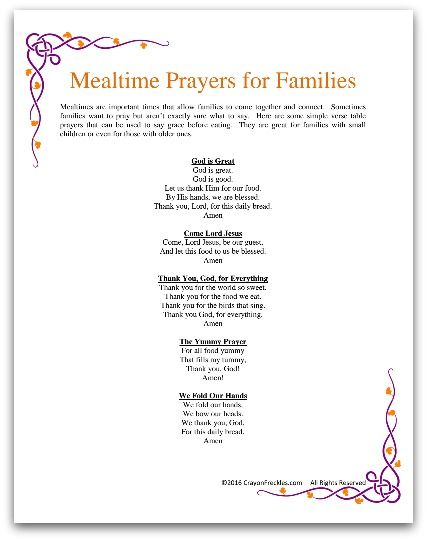 List Of Family Prayers That Can Be Said Before Meals Free Printable Of Ways To Say Grace With Children Prayers For Children Mealtime Prayers Prayer For Family