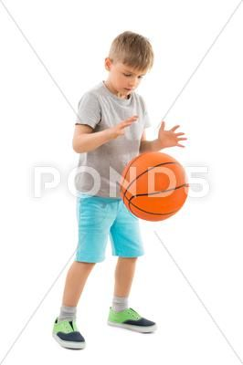 Cute Boy Playing Basketball Over White Background Stock Photo 65410335 Boys Playing Cute Boys Stock Photos