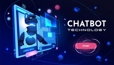 Download Chatbot Technology Service Cartoon Banner for free