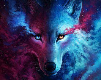 Firstborn Signed Fine Art Giclee Print Wall Decor Fantasy Galaxy Nebula Lion Painting By Jonas Jodicke Wolf Wallpaper Fantasy Wolf Wolf Background
