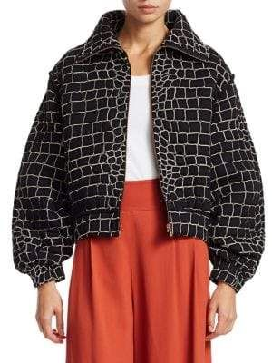 7b1c0a35 See by Chloe Women's Patterned Cropped Bomber Jacket in 2019 ...