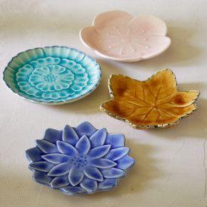 Ceramic Leaf & Flower Plate Set