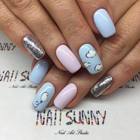 Delicate nails, Foil nail art, Long nails, Nails balls, Nails trends 2018, Painted nail designs, Pink and blue nails, Spring nail art