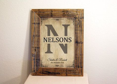 Personalized Family Name Sign Custom Signs Reclaimed Wood Frame