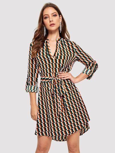 Multicolorido Com Cinto Férias Vestidos Roupas Em 2019