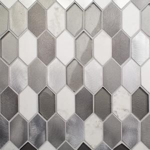 Fortis Aura 11 78 In X 10 87 In X 8 Mm Marble Metal Glass Wall Mosaic Tile Mosaic Tiles Glass Tile Pattern Glass Wall