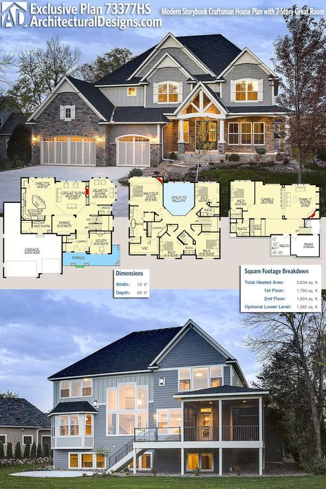 Plan 73377hs Modern Storybook Craftsman House Plan With 2 Story Great Room Craftsman House Plans Craftsman House Craftsman House Plan