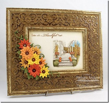 Inspired by the Front Porch - Fall, Upsy Daisy Die-namics, Medium Leafy Flourish Die-namics - Barbara Anders