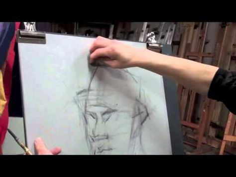 Art League instructor Jin Chung demonstrates with vine charcoal and white chalk for his Portrait Drawing class. (Part 1)