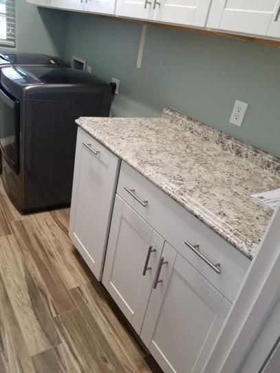 Hampton Bay 6 Ft White Laminate Countertop With Valencia Edge In Typhoon Ice With Integrated Backsplash 495252v6 The Home Depot Laminate Countertops Countertops White Laminate