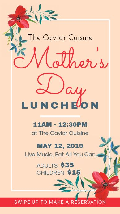 Mother S Day Tea And Lunch Invitation Instagram Story Mothers Day Poster Party Invite Template Digital Invitations Design