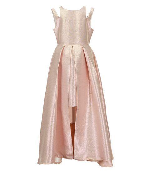 504f0c68603 Rose Tween Diva Big Girls 7-16 Double-Strap Metallic Brocade Dress