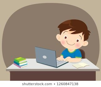 Student With Laptop Illustration Of Kid Studying With The Use Of Laptop Notebook Boy Using Laptop Shapes Preschool Teacher Wallpaper Kids Study