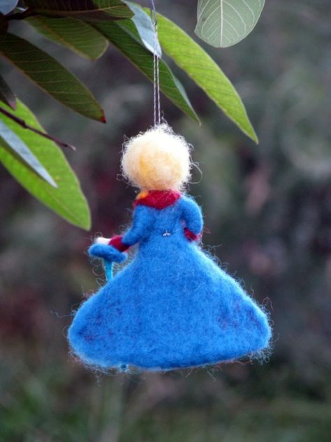 Christmas ornament Little boy prince boy Needle felted Prince Waldorf inspired
