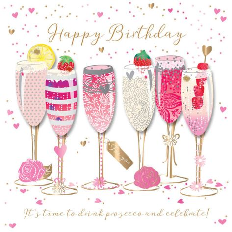 Happy Birthday Prosecco Handmade Embellished Greeting Card By Talking Pictures C | eBay