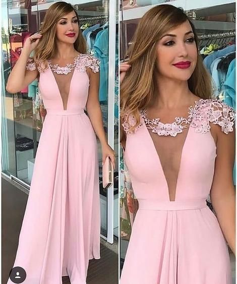 6ed8977195a0 Cap Sleeves Deep V Neck Pink Long Prom Dress by PrettyLady on Zibbet