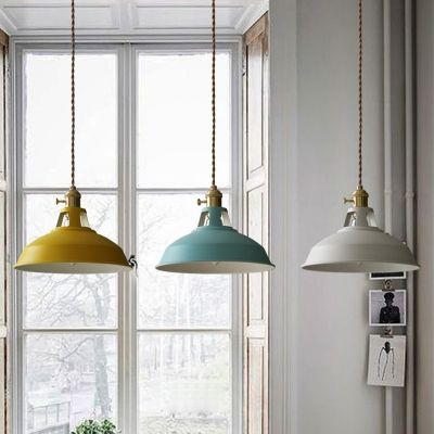 Industrial Hanging Pendant Light With Colorful Barn Shade 1 Light Hanging Pendant Lights Lights Over Dining Table Hanging Pendant Lights Kitchen