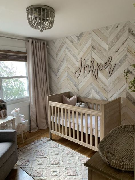 White Washed Wood Nursery - Project Nursery #woodwall #pallettwall #whitewashed #accentwall
